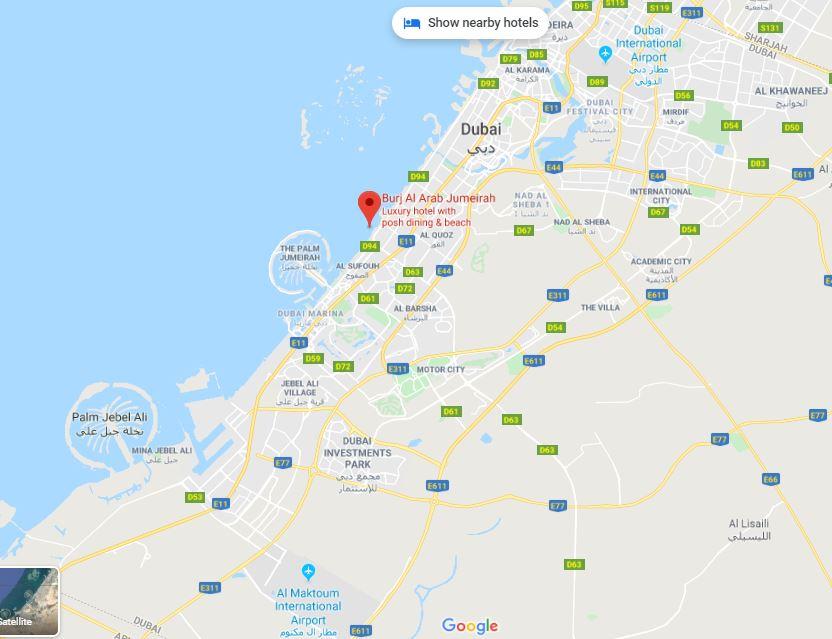 Расположение отеля Бурдж-аль-Араб